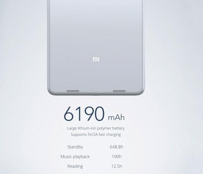 Xiaomi Mi Pad 2 имеет несъёмный аккумуляторный блок, ёмкость которого достигает отметки в 6190 мАч